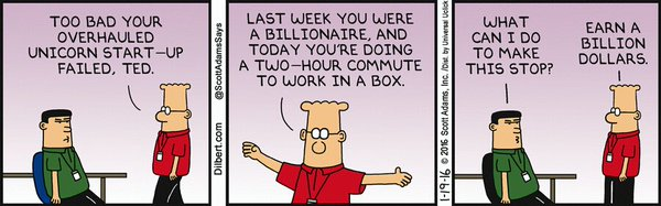 Dilbert by Scott Adams - Fintech 2016 turns into Fintech 2017